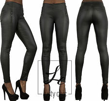 New Womens  Sexy Black Leather Look Leggings Wet Look Pants Size 6 8 10 12 14 16