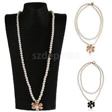 Double Layer Fashion Camellia Flower Pendant Faux Pearl Sweater Necklace