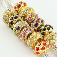 New Gold Plated Czech Crystal Rhinestone Spacer Beads Fit European Charm Jewelry