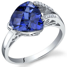 3.25 ct Trillion Checkerboard Cut Blue Sapphire Ring Sterling Silver Size 5 to 9