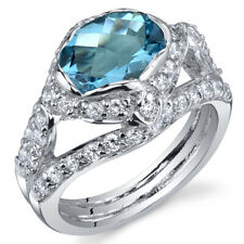 Statuesque 2.00 cts Swiss Blue Topaz Ring Sterling Silver Size 5 to 9