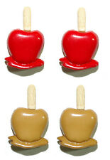 RED CANDY or CARMEL APPLE STUD or CLIP ON EARRINGS MULTI-COLORED - 2 CHOICES