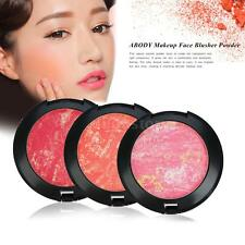 ABODY Pro Mixed Colors Face Blusher Powder Palette Cosmetic & Mirror Brush O0I9