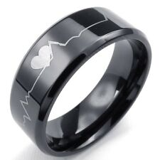 Custom Engraving 8mm Black Heartbeat Tungsten Ring Men Ring Tungsten Band