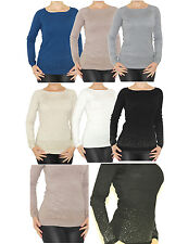 Pullover Glitter Studs Top Knitted Shirt Blouse Long Sleeve 1506