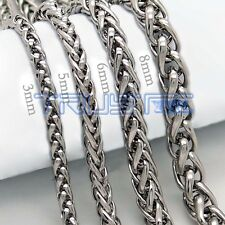 "3/5/6/8MM 20""-30"" Mens Silver Stainless Steel Wheat Braided Chain Necklace"