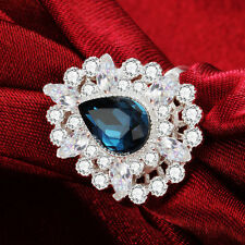 Blue sapphire 925 Silver Filled Wedding Engagement Bridal Set Ring SIZE 6-10