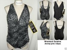 NWT Miraclesuit Sonatina One Piece Swimsuit Black/Animal Print 18W- 24W $144