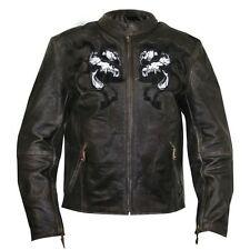 Retro Brown Premium Leather Vented Speedster Motorcycle Jacket With Skulls Sizes