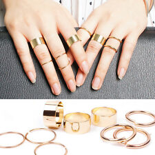 1 Set of 9pcs Punk Personality Gold Stack Plain Above Knuckle Band Midi Rings