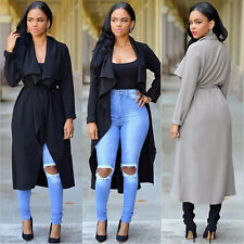 Fashion Women Italian Waterfall Belt Long Sleeve Coat Jacket Trench Tunic Coat