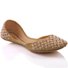 UNZE LADIES 'ALINA' FORMAL LEATHER INDIAN KHUSSA PUMPS UK SIZE 3-8 GOLD