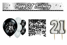 21st  BIRTHDAY PARTY PACK DECORATIONS BANNER BALLOONS CANDLE CONFETTI (CP.BL.5)