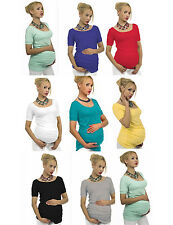 "Maternity Short sleeve T-Shirt Tunic Blouse Top Belly Stretch ""Sonia"" Pregnancy"