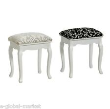 Stool Dressing Table Chair Bedroom Shabby Chic Golden Tone Fabric Wooden Legs