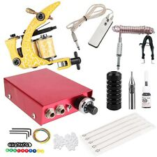 Pro Automatic Tattoo Power Supply Kit Gun Machine Needles Tips Foot Pedal Set