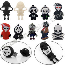Cartoon Skull Ghost Zombie USB 2.0 Memory Stick Flash pen Drive 8GB 16GB 32GB