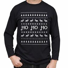NEW - HO HO HO - Christmas Sweater Mens Black T-Shirt Long Sleeve - Gift Present
