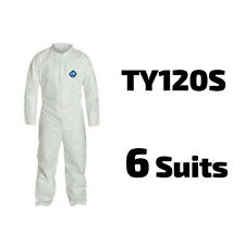 6 Suits DuPont Disposable Tyvek White Coverall Open wrists & ankles - TY120S