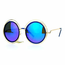 Womens Designer Fashion Sunglasses Round Circle Gold Wire Frame Mirror Lens