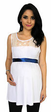 White Lace With Ribbon Maternity Blouse Womens Sleeveless Top S M L XL
