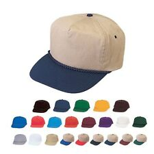 BLANK TWO TONE 5 PANEL BASEBALL COTTON TWILL BRAID SNAPBACK HAT HATS CAP CAPS