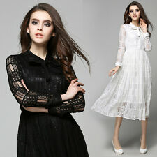2016 Spring/Autumn European Fashion Womens Exquisite Lace Long Sleeve Slim Dress