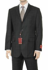 Mens Modern fit Charcoal Gray Plaid Two Button High Twist Wool Suit