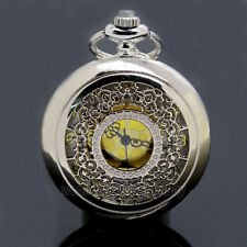 Antique Hollow Silver Tone Quartz Pocket Watch Necklace Pendant Women Men's Gift