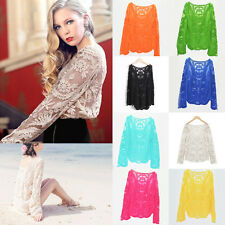 Hot! Women Semi Sheer Embroidery Floral Hollow Lace Crochet Tee Shirt Top Blouse
