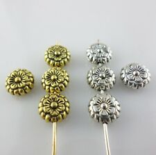 30/90/45pcs Tibetan Silver Oblate Flower Spacer Beads Charms Jewelry Making