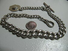 ANTIQUE HEAVY (82g) LARGE STERLING SILVER POCKET WATCH CHAIN & FOB - LOVELY