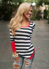 Fashion Neck Top Striped Long Sleeve Sexy New Casual Women Blouse T-Shirt Crew