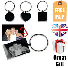Free Personalised Photo Image and text Engraved Assorted Shapes Keyring-Free P&P