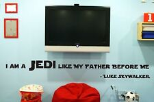 I AM A JEDI LIKE MY FATHER BEFORE ME STAR WARS WALL STICKER VINYL DECAL GIFT DIY