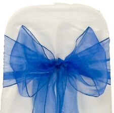 Royal Blue Organza SASH BOW CHAIR COVER BOWS DECORATION FOR WEDDING PARTY
