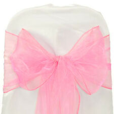 Pink ORGANZA SASH BOW CHAIR COVER BOWS DECORATION FOR WEDDING PARTY