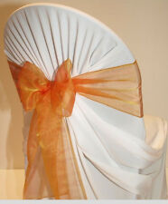 Brunt Orange Organza SASH BOW CHAIR COVER BOWS DECORATION FOR WEDDING PARTY
