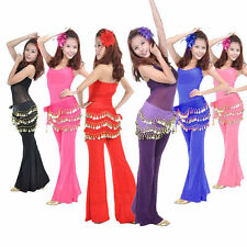 Attractive 3 Rows Coins Belly Dance Chiffon Hip Skirt Scarf Wrap Belt New