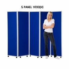Mobile Concertina Folding Room Divider, 5 panel, 1800mm high, Nyloop Fabric
