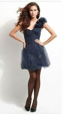NEW BCBG MAXAZRIA ONE SHOULDER FLOWER TULLE BLUE GREY COCKTAIL DRESS SZ. 8