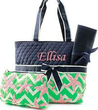 Personalized Chevron Starfish Quilted 3Pcs Set Diaper Bag Purse FREE MONOGRAM