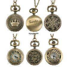 New Antique Vintage Bronze Tone Pendant Pocket Quartz Watch Chain Necklace OO55