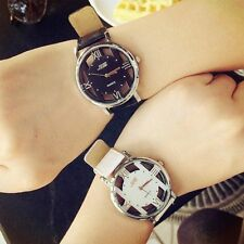 Fashion Men's Leather Band Stainless Steel Sport Hollow Quartz Women Wrist Watch