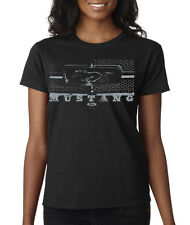 Ford Mustang Front Grill Logo Pony Racing Ladies T-Shirt S-2XL