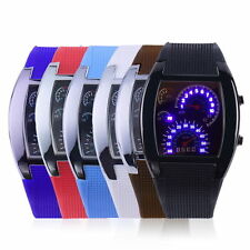 Mens Sports RPM Turbo Blue Flash LED Sports Car Meter Dial Watch Wristwatch New