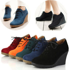 Womens Wedge High Heel Booties Platform Round Toe Lace Up Boots Comfort Shoes