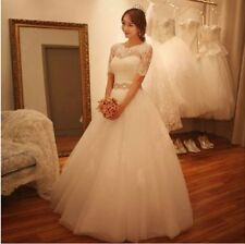 White/Ivory Lace Applique Wedding Dress Bridal Gown custom sz 4 6 8 10 12 14 16+
