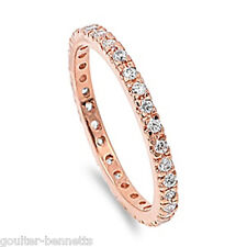 Rose Gold Plated on 925 Sterling Silver Pave Set Cubic Zirconia CZ Eternity Ring
