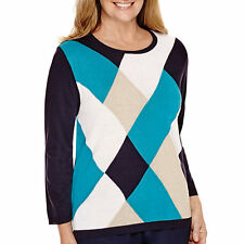 Alfred Dunner 3/4-Sleeve Argyle Sweater Size S, M, L, XL Msrp $54.00 NEW